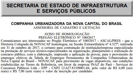 Banca Concurso Novacap