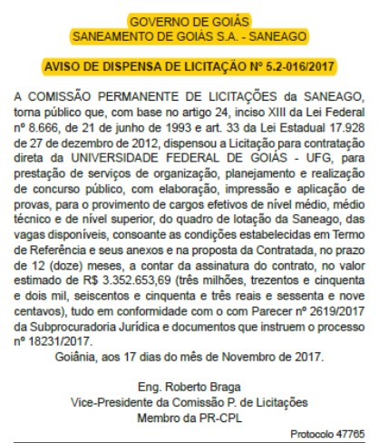 Concurso Saneago Banca